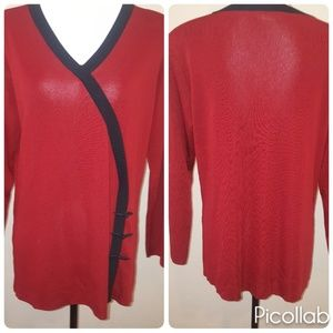 Exlusively Misook Red Knit Tunic Top